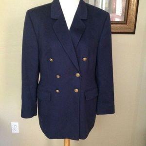 SAKS FIFTH AVENUE Navy Cashmere Blazer Jacket  12